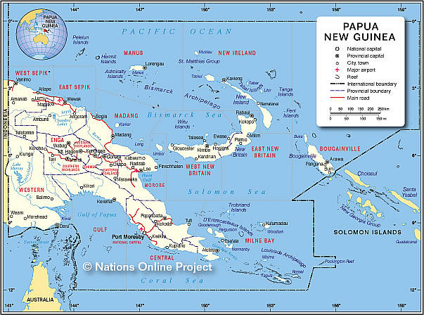 Small Map of Papua New Guinea - Nations Online Project