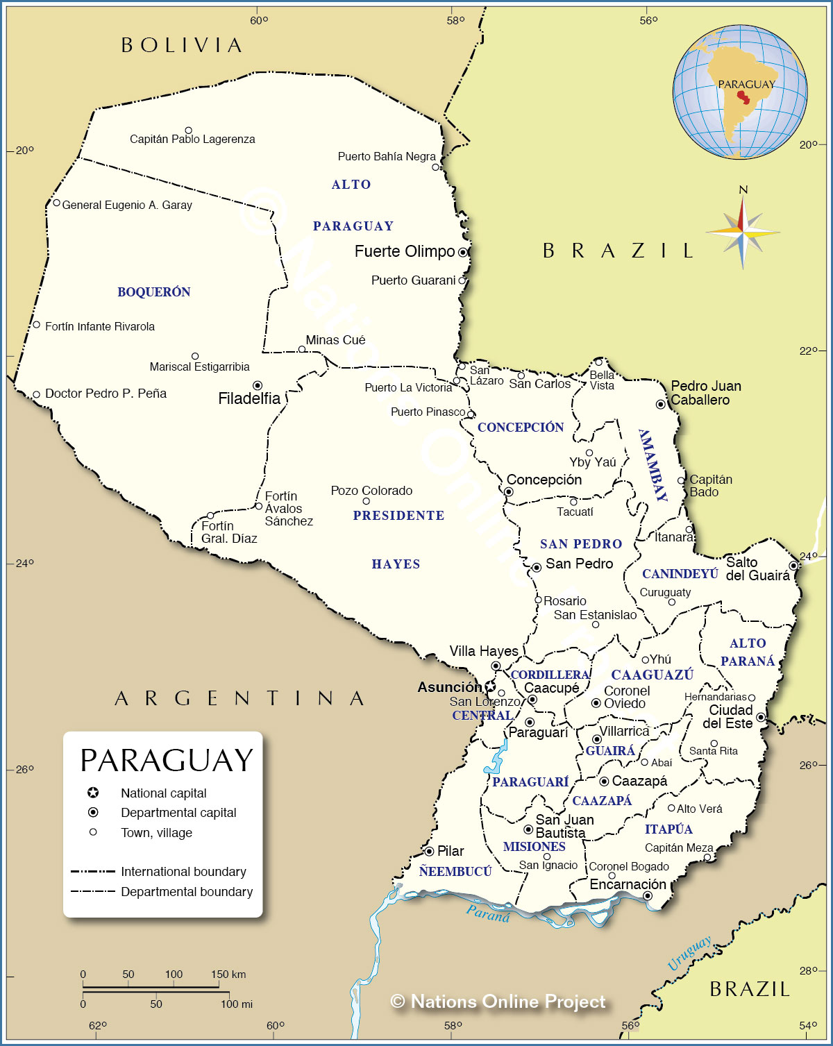 Map Of Paraguay Administrative Map of Paraguay   Nations Online Project