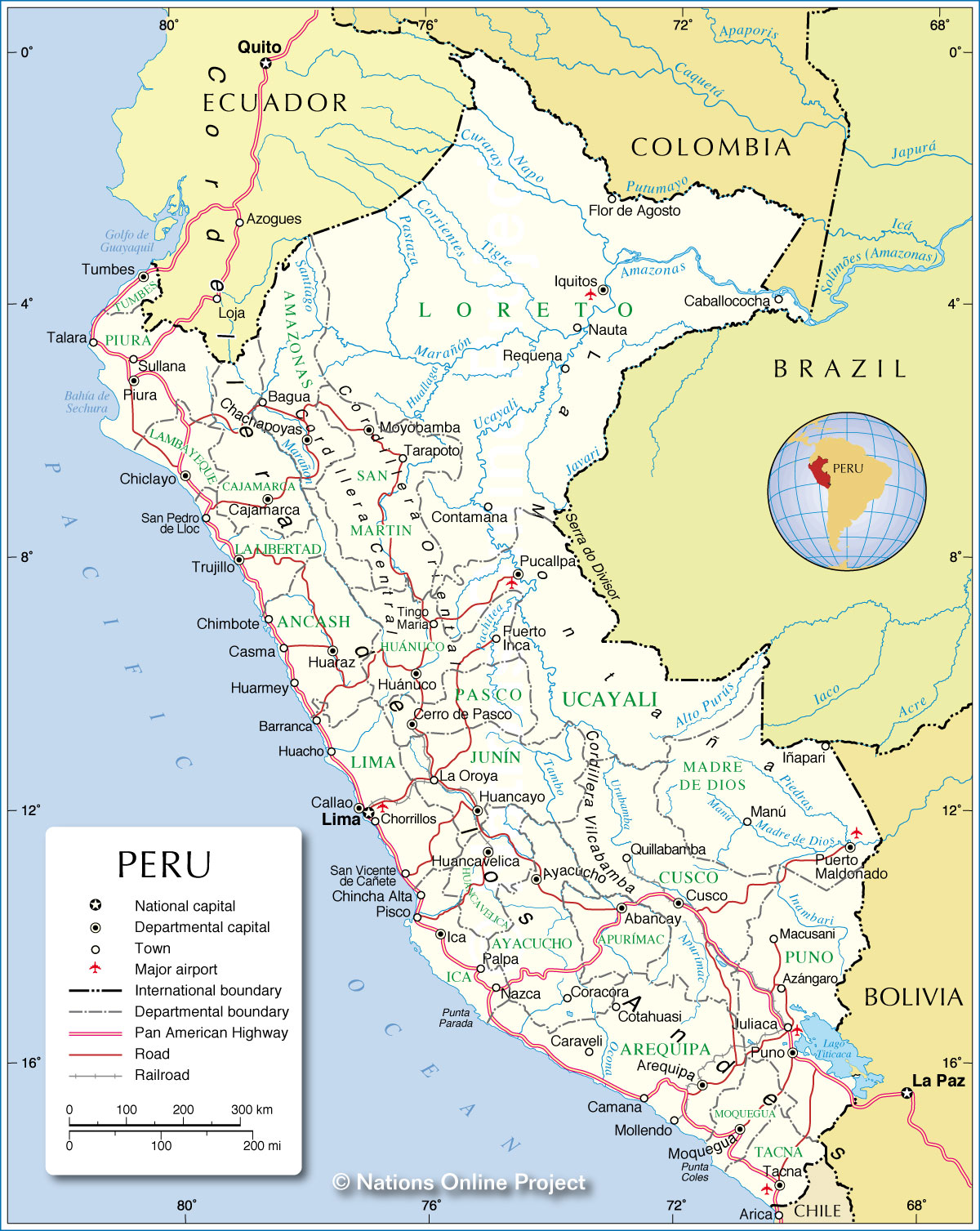 Administrative Map of Peru Nations Online Project