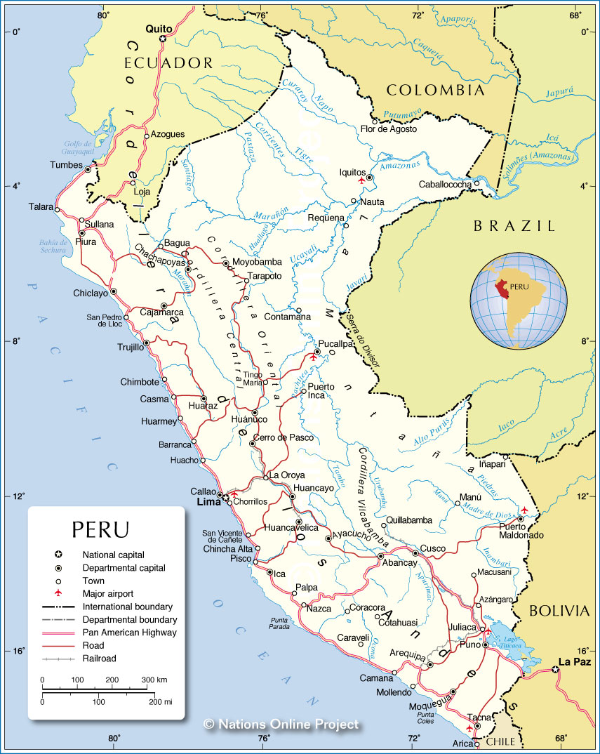 Political Map Of Peru Nations Online Project - Cities map of peru