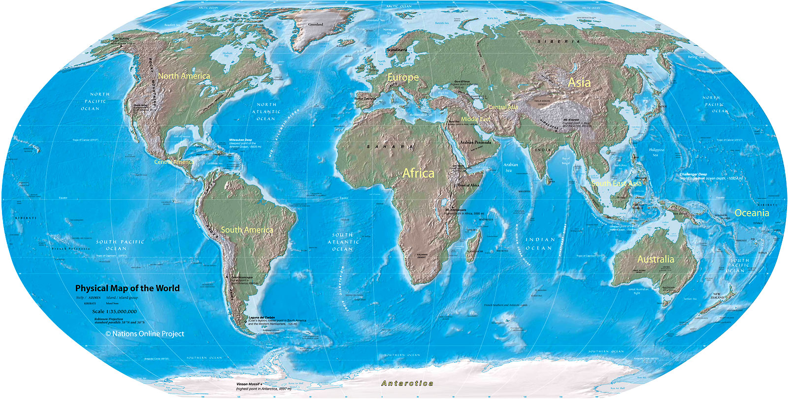 World Map Physical Map Of The World Nations Online Project - The physical world continents and oceans