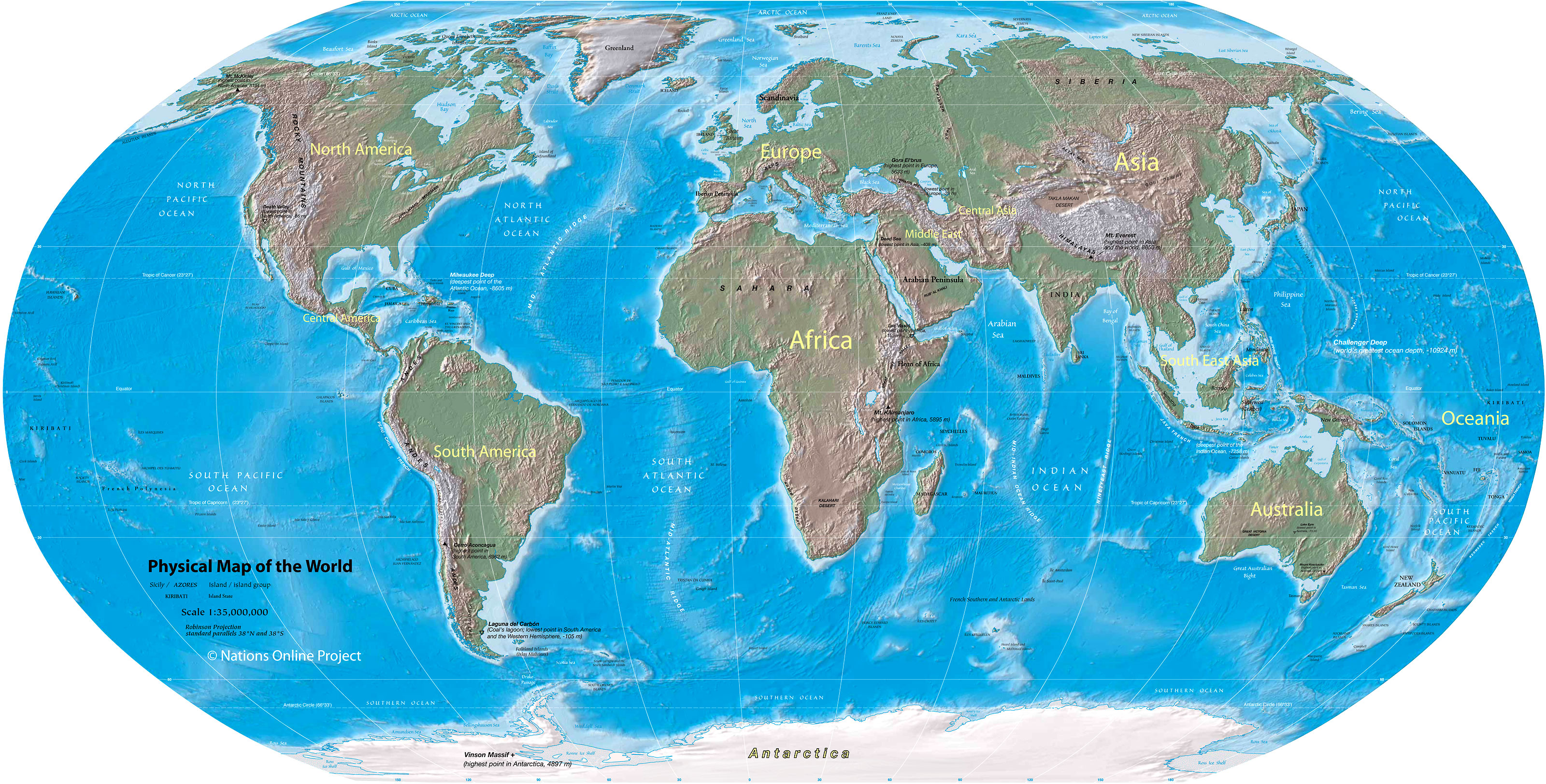 World Map Hemispheres Countries.  World Map Physical of the Nations Online Project
