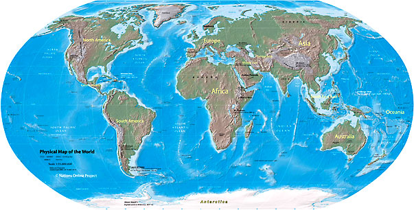 Shaded relief map of the world showing landmasses, continents, oceans,