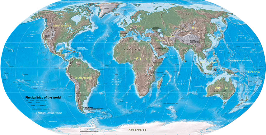 World map physical map of the world nations online project physical map of the world 855px gumiabroncs Choice Image
