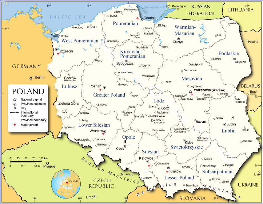 Administrative Map Of Poland Nations Online Project