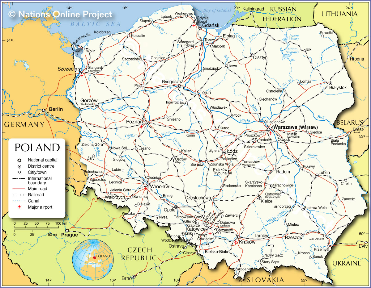 Political Map Of Poland Nations Online Project - Poland map