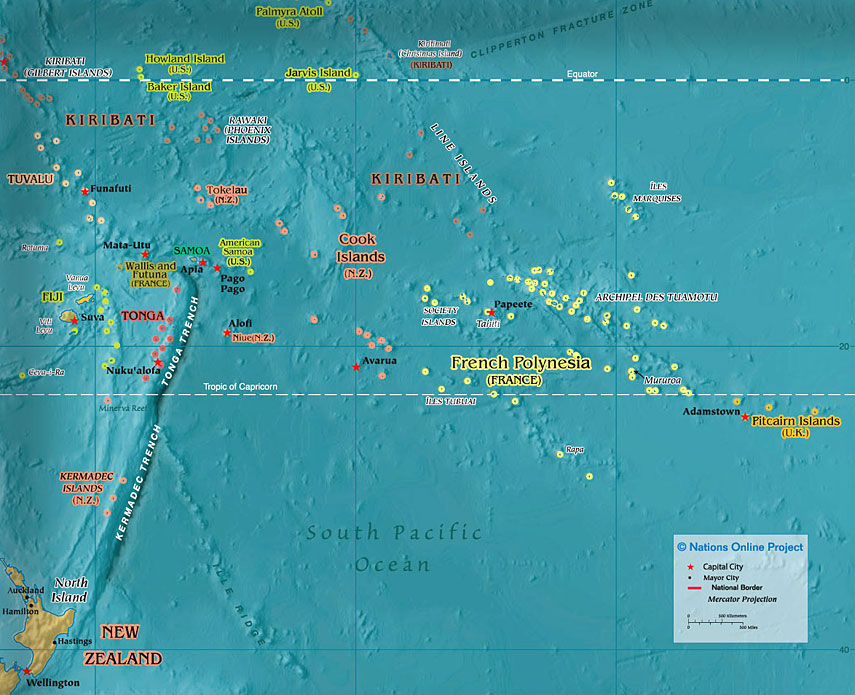 Politcal Map of Polynesia 600 px