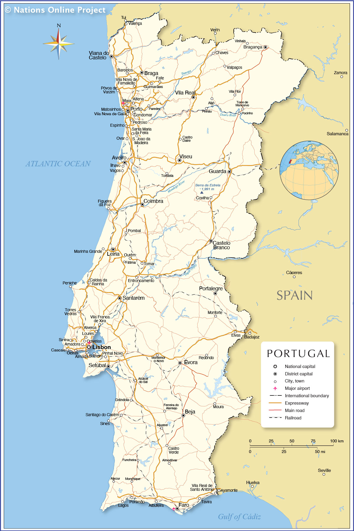 Political Map Of Portugal Nations Online Project - Portugal map with airports