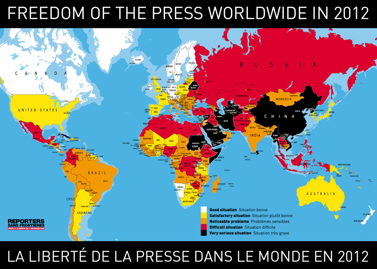 world map of press freedom