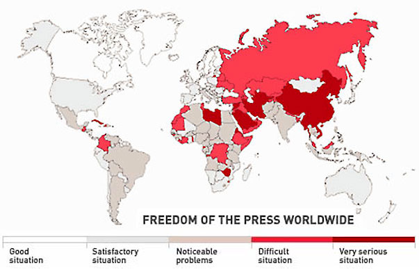 World Map Chart of Freedom of the Press