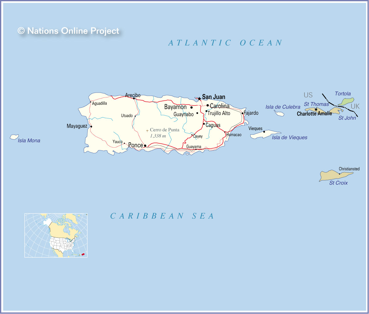 reference map of puerto rico map of puerto rico and the us virgin islands