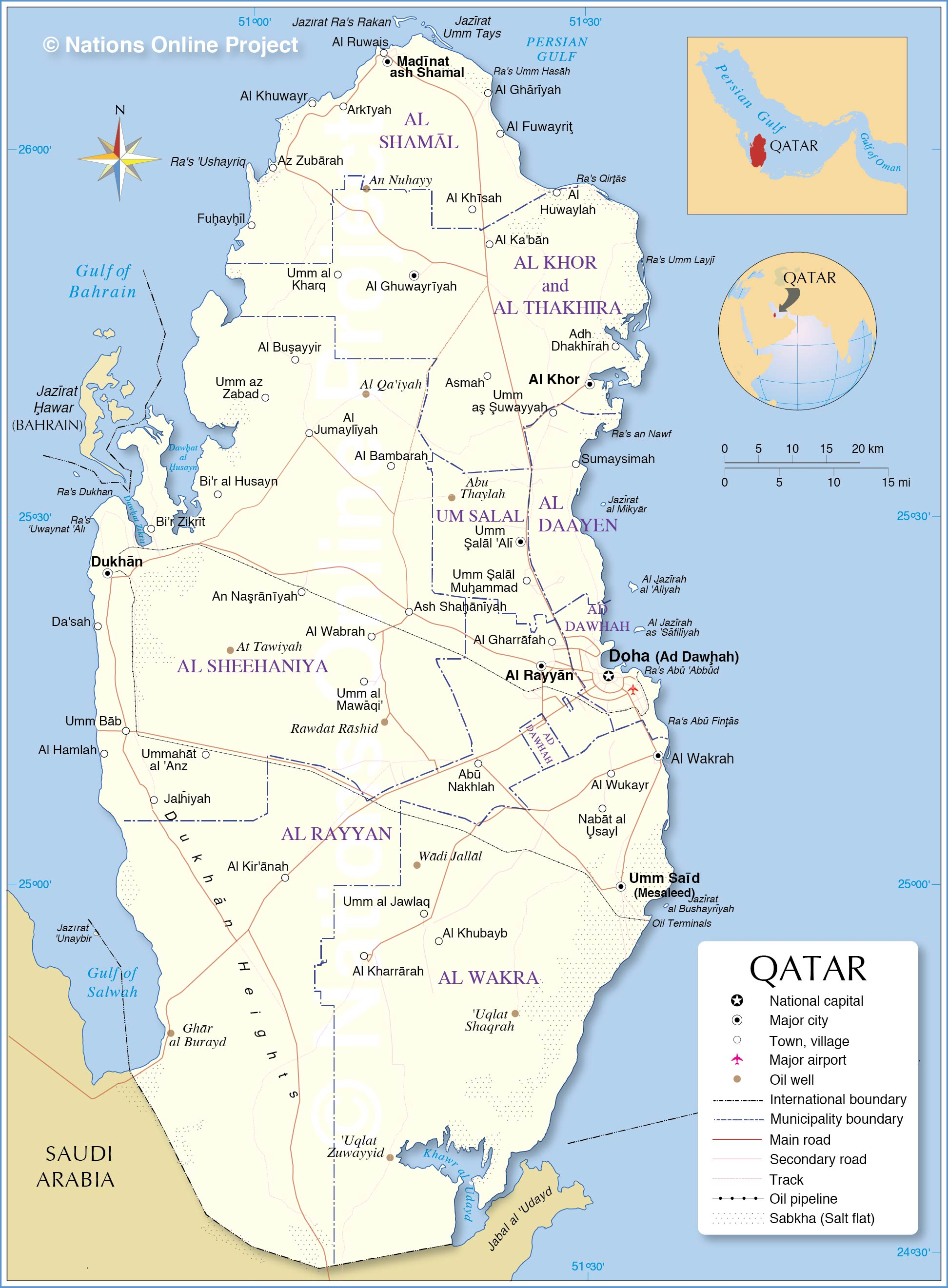 Political Map of Qatar - Nations Online Project on alexandria area map, kyoto area map, rotterdam area map, cairo area map, qatar area map, hangzhou area map, narita area map, hyderabad area map, berlin area map, beijing area map, baghdad area map, kowloon area map, warsaw area map, bahrain area map, lilongwe area map, phnom penh area map, macau area map, mosul area map, kuala lumpur area map, bilbao area map,