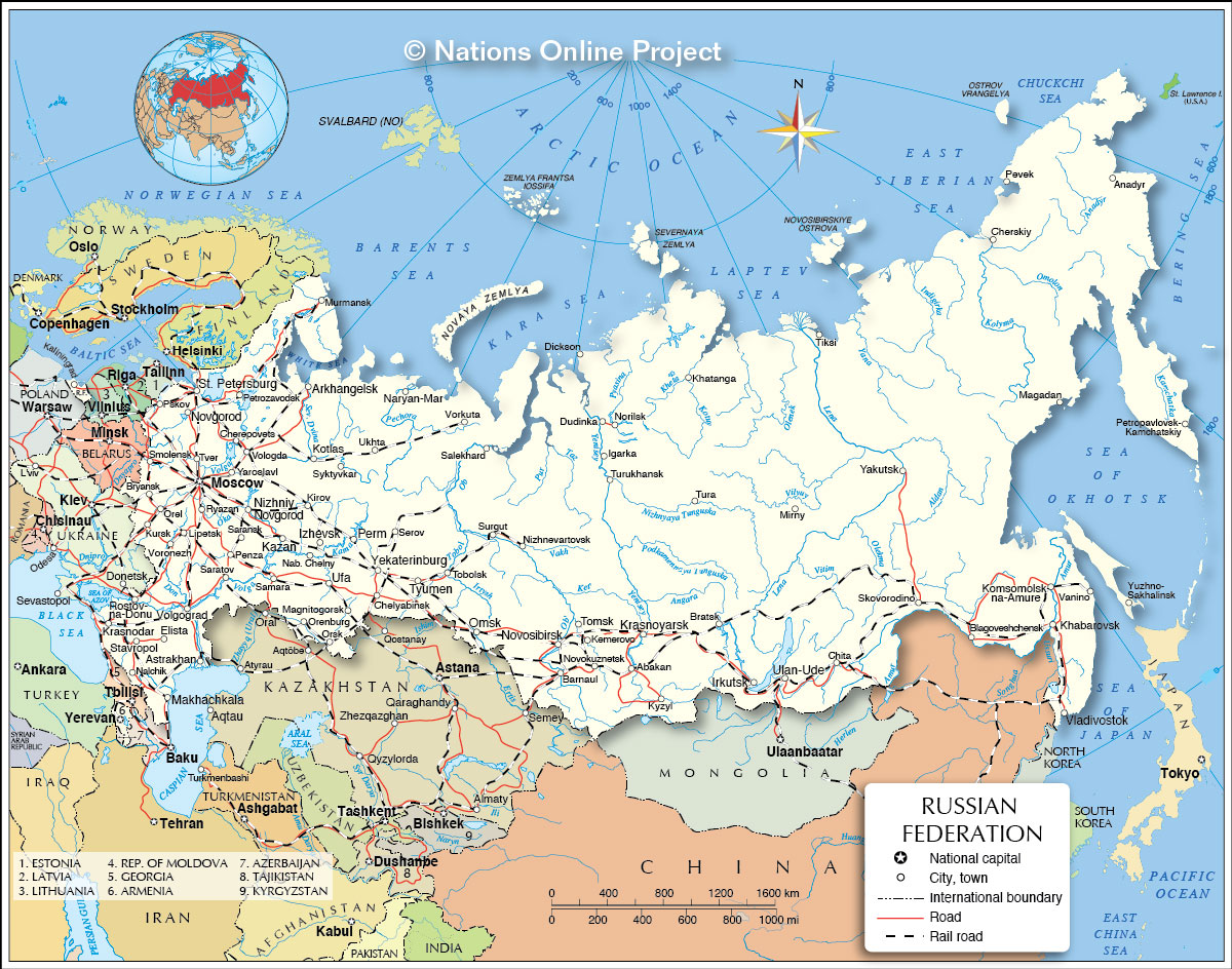 Political map of russia and surrounding countries ...