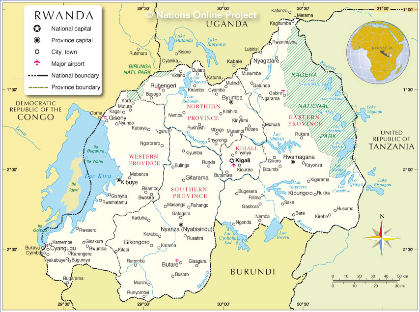 Administrative Map of Rwanda - Nations Online Project on