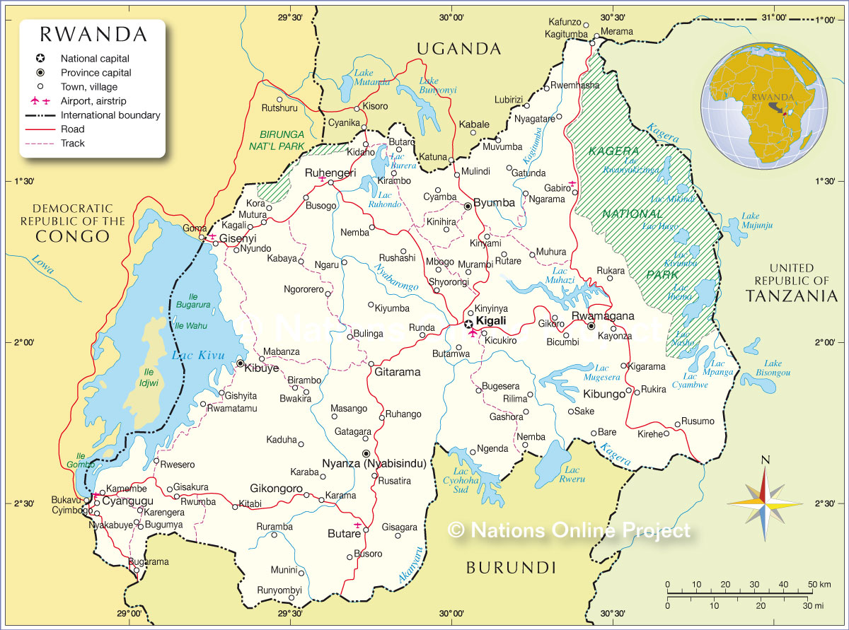 Image of: Political Map Of Rwanda Nations Online Project