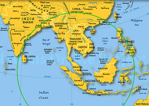 Mh 370 search area maps of peninsular malaysia and surrounding search area indian ocean gumiabroncs Gallery