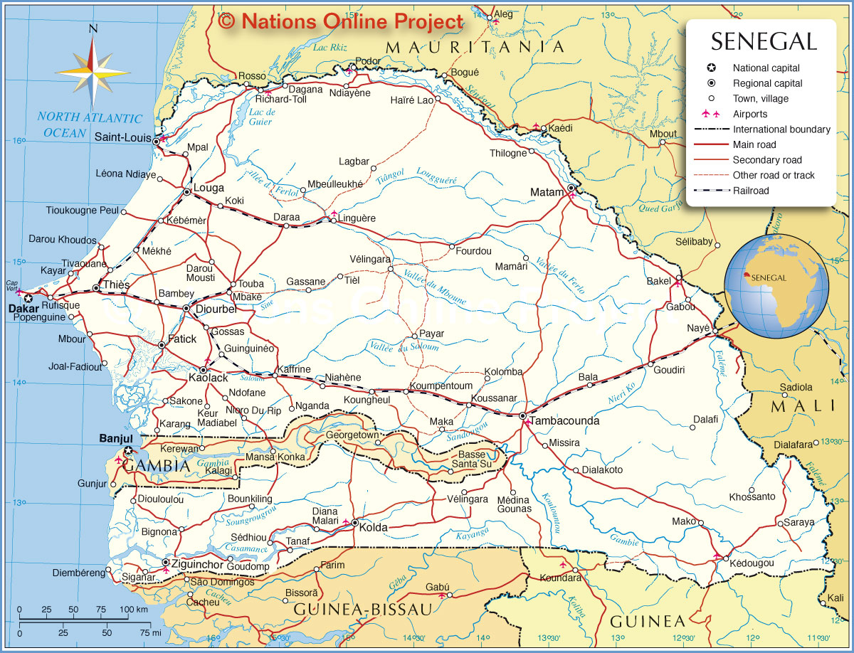 Senegal On Africa Map.Political Map Of Senegal Nations Online Project