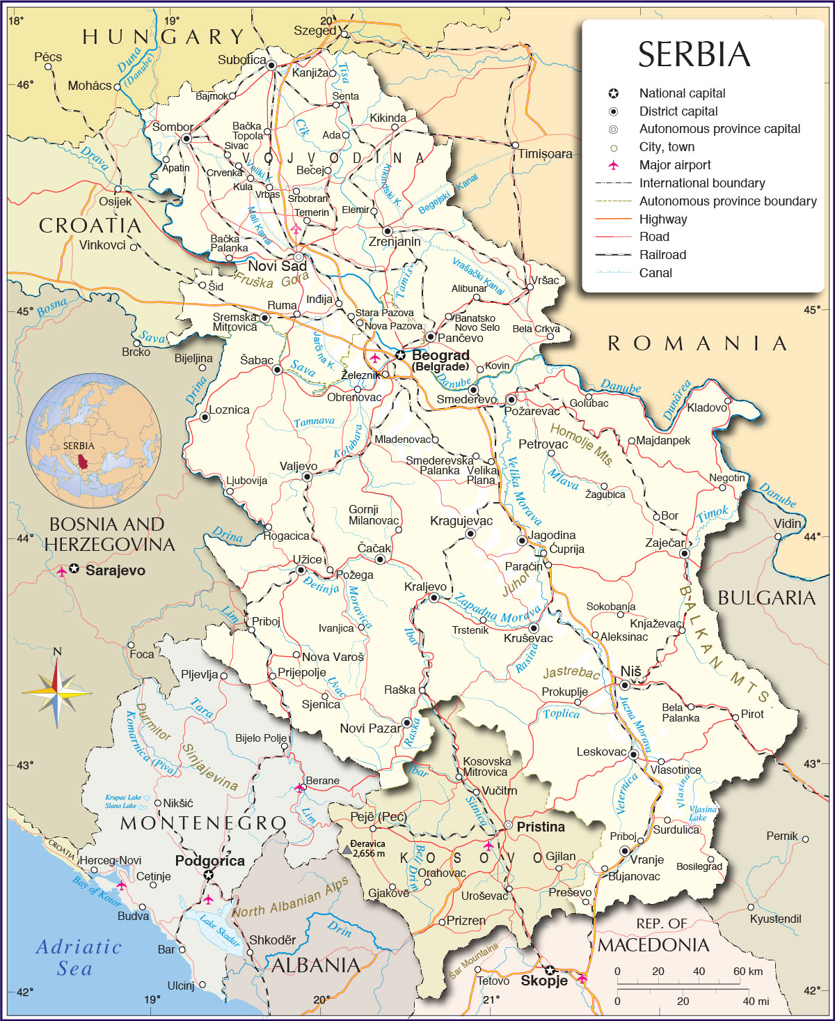 Map of Serbia Travel