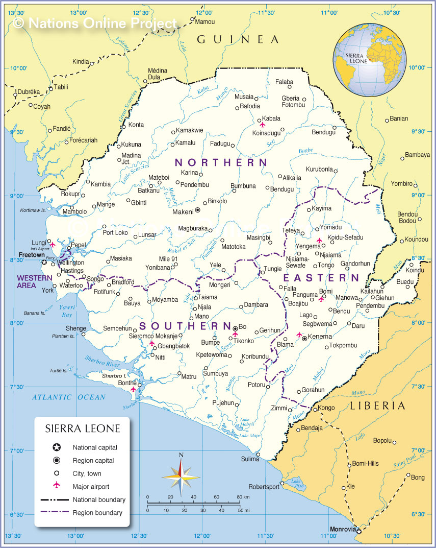 Administrative Map Of Sierra Leone Nations Online Project - Sierra leone map