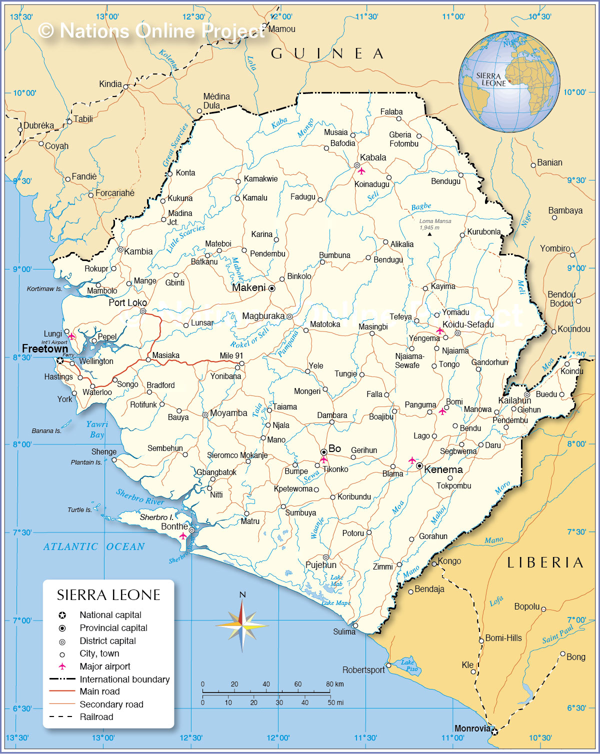 Map Of Sierra Leone Political Map of Sierra Leone   Nations Online Project