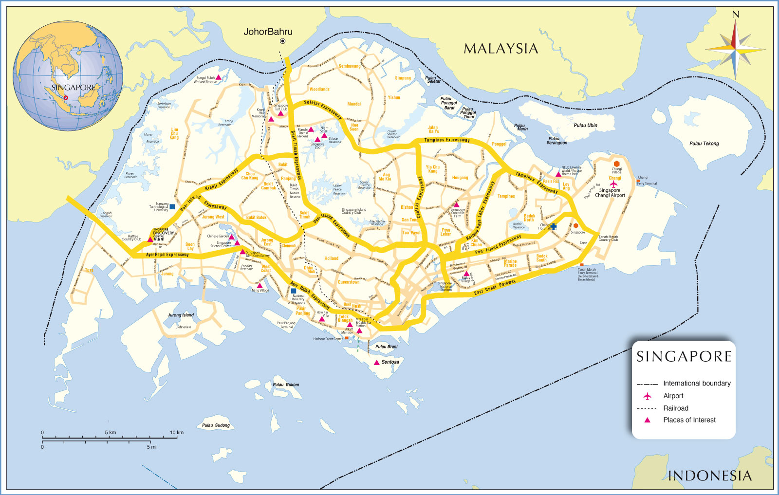 Map of singapore nations online project map of singapore sciox Images