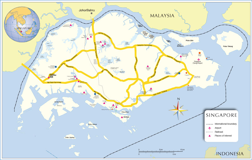 Small Map of Singapore
