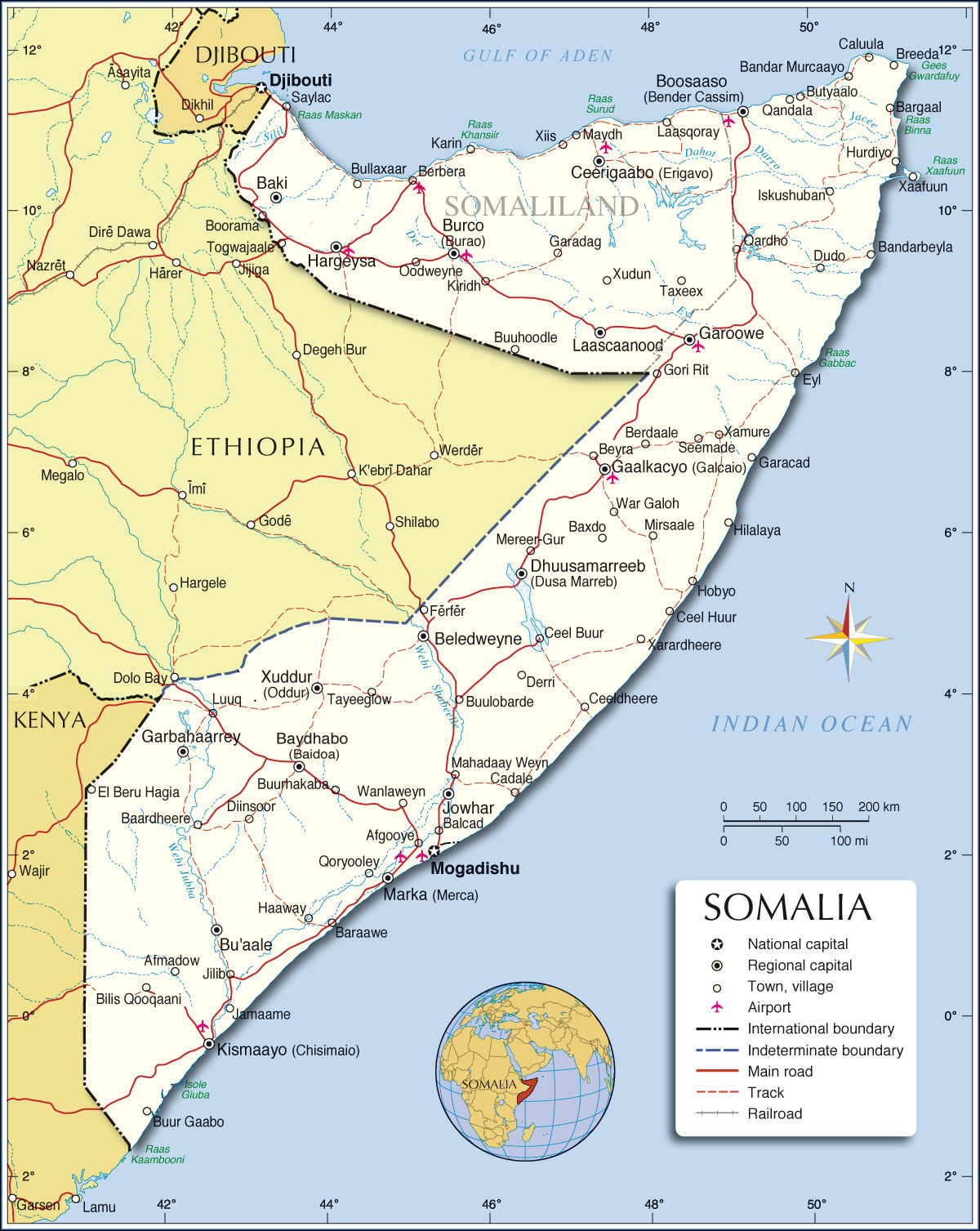 Political map of somalia