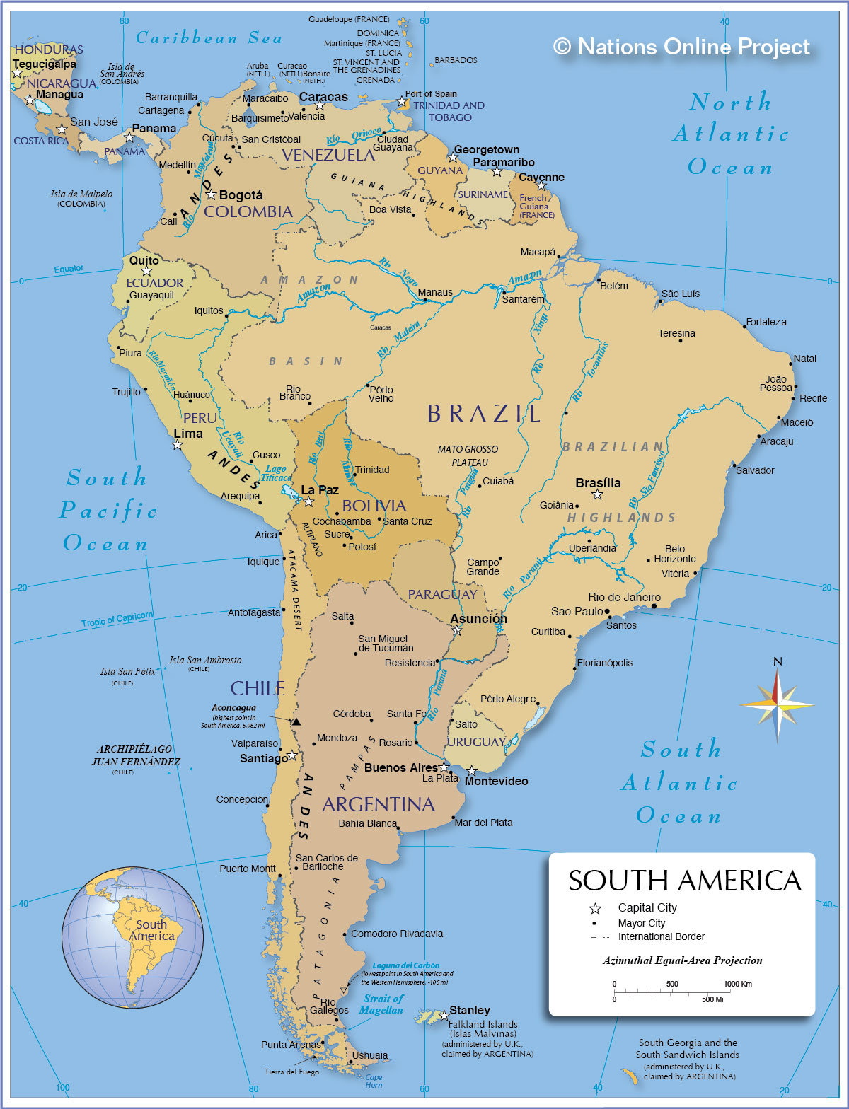 Latin america map countries and capitals and travel information ...
