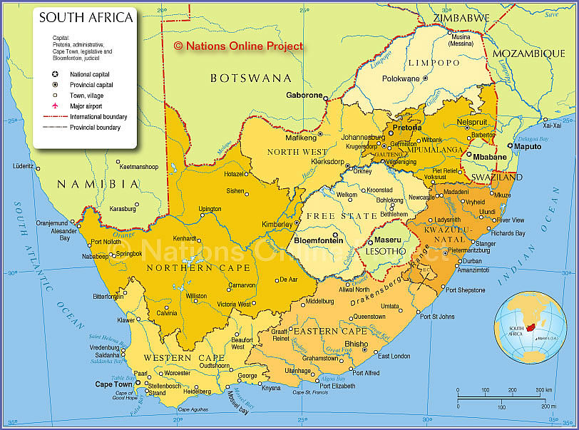 South Africa Map Capitals.Political Map Of South Africa Provinces Nations Online Project