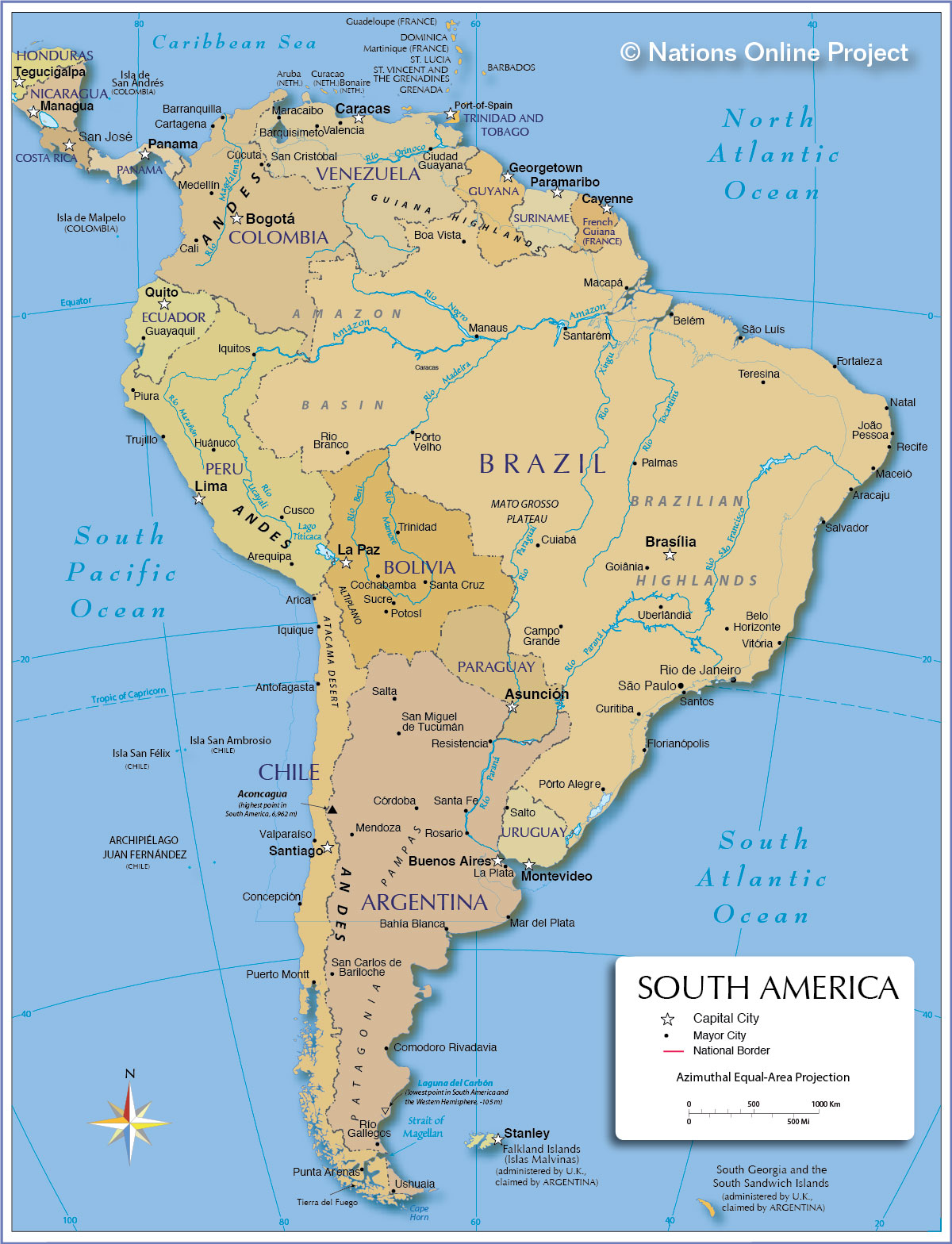 Political Map Of South America  Px Nations Online Project - Us states and capitals list map