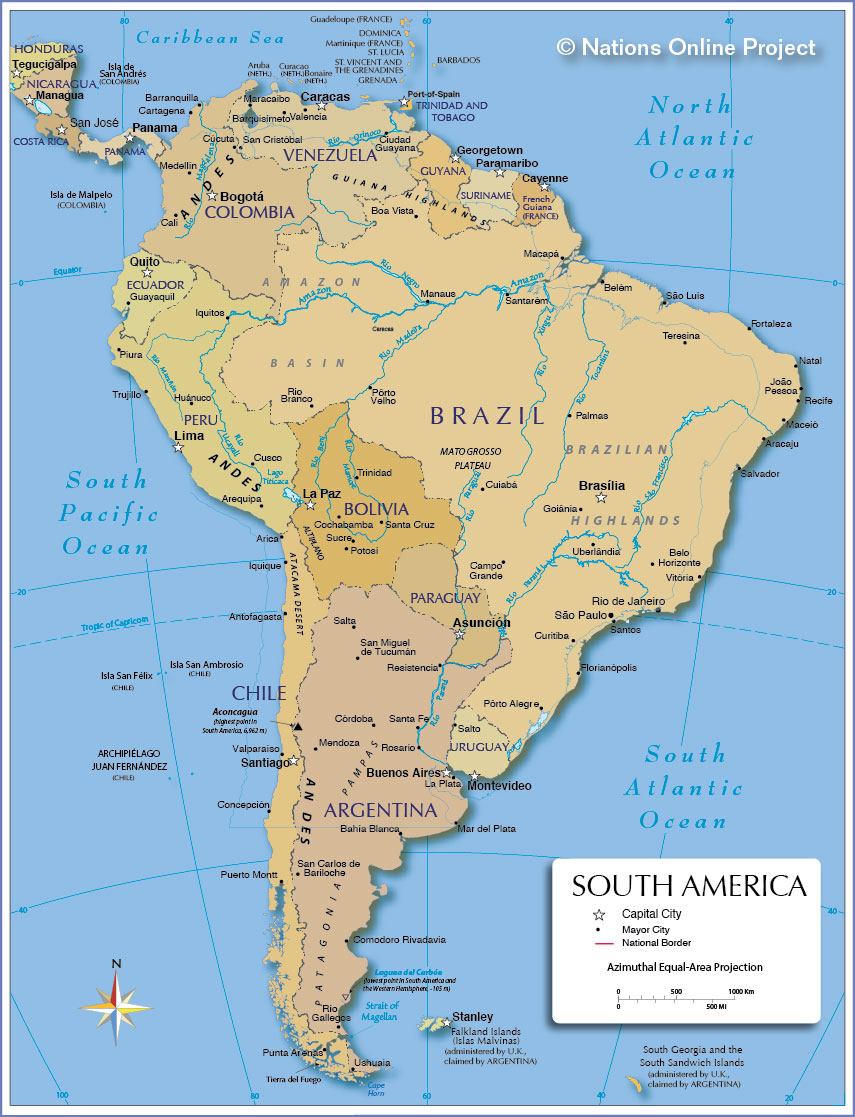 Map Of South America Nations Online Project - Map of usa with states and capitals and major cities