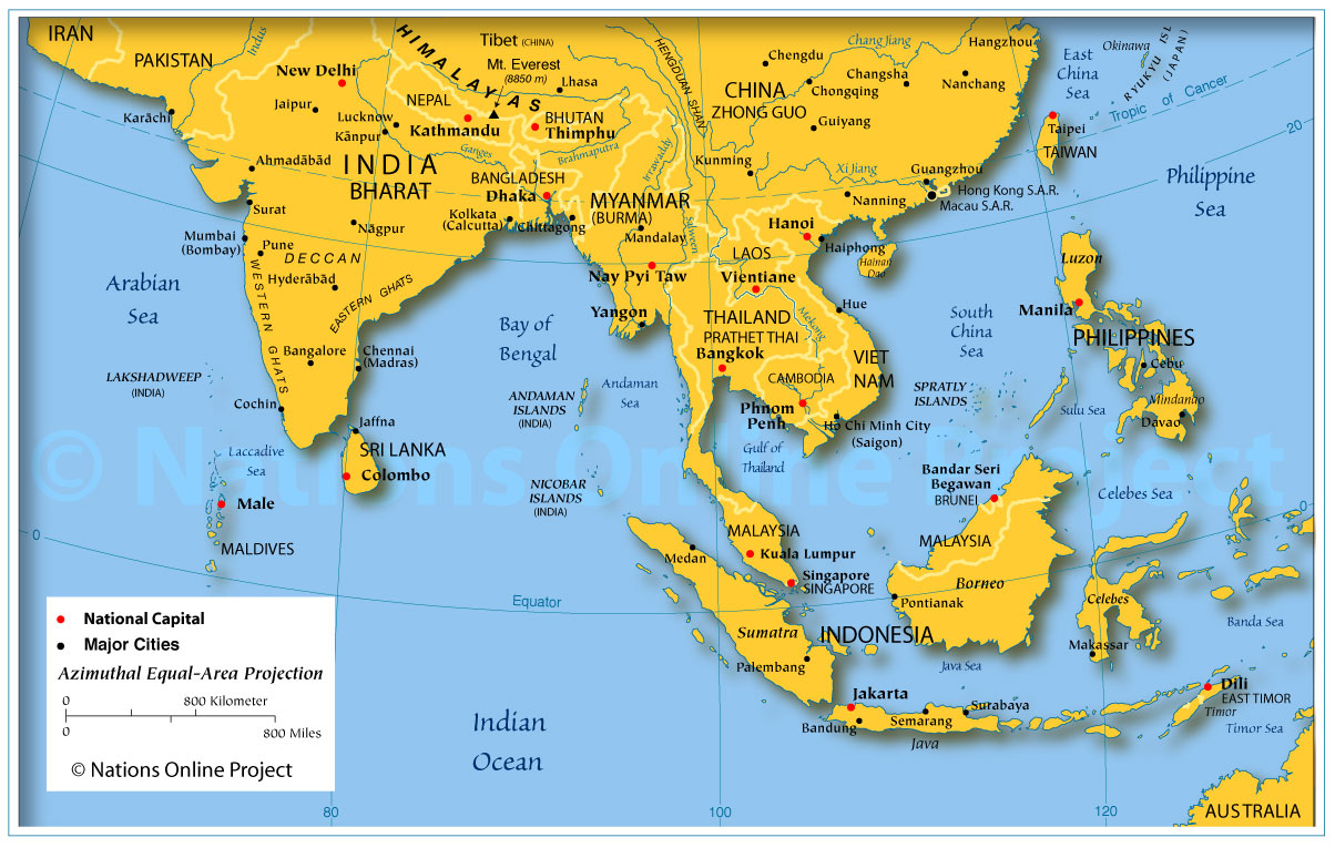 map showing the countries and regions of south east asia with borders main cities and capitals