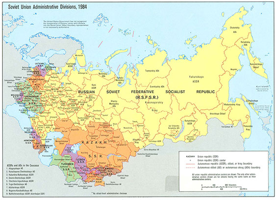 Soviet Union administrative divisions in 1984