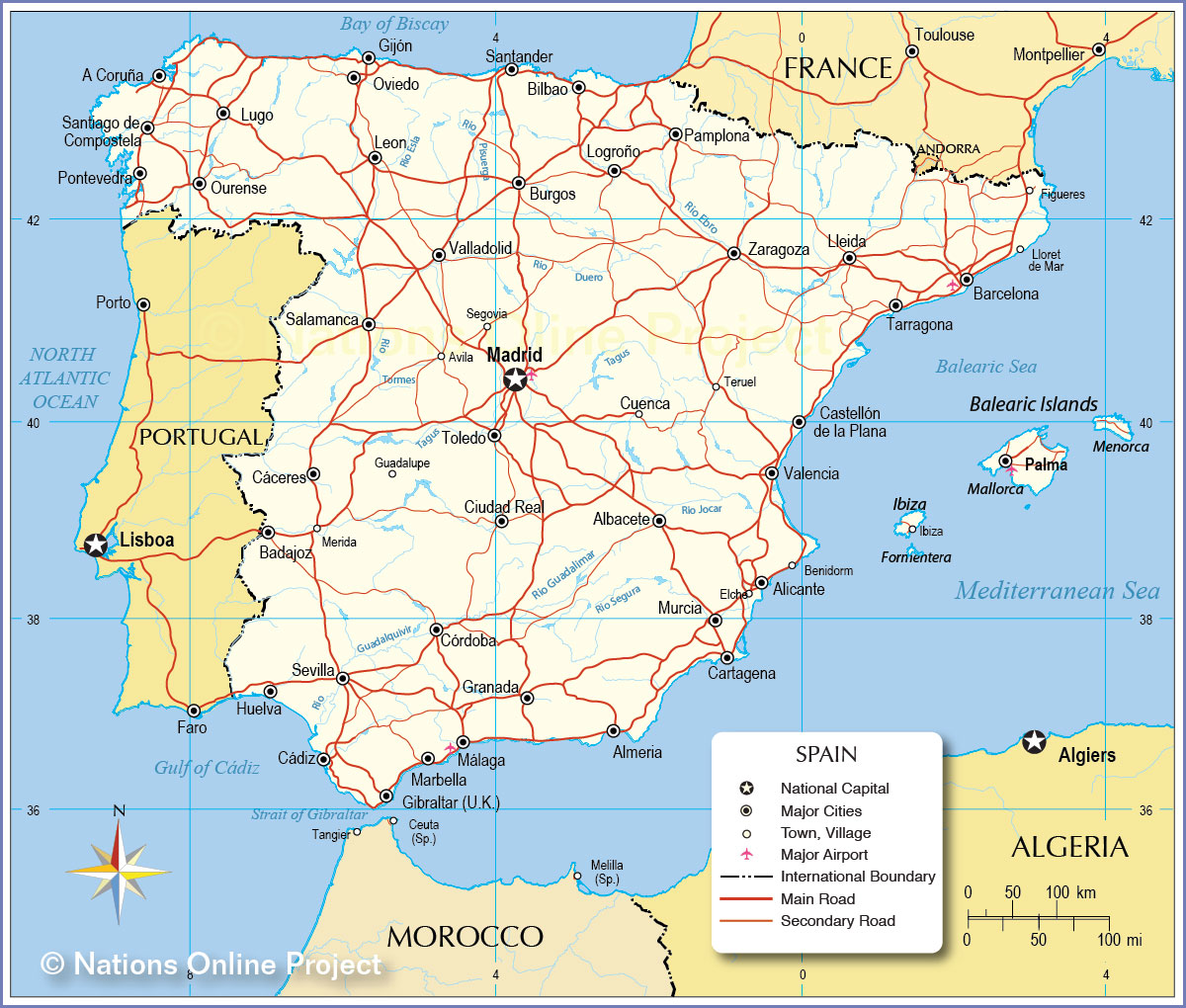 Political map of spain satellite view and map of spain