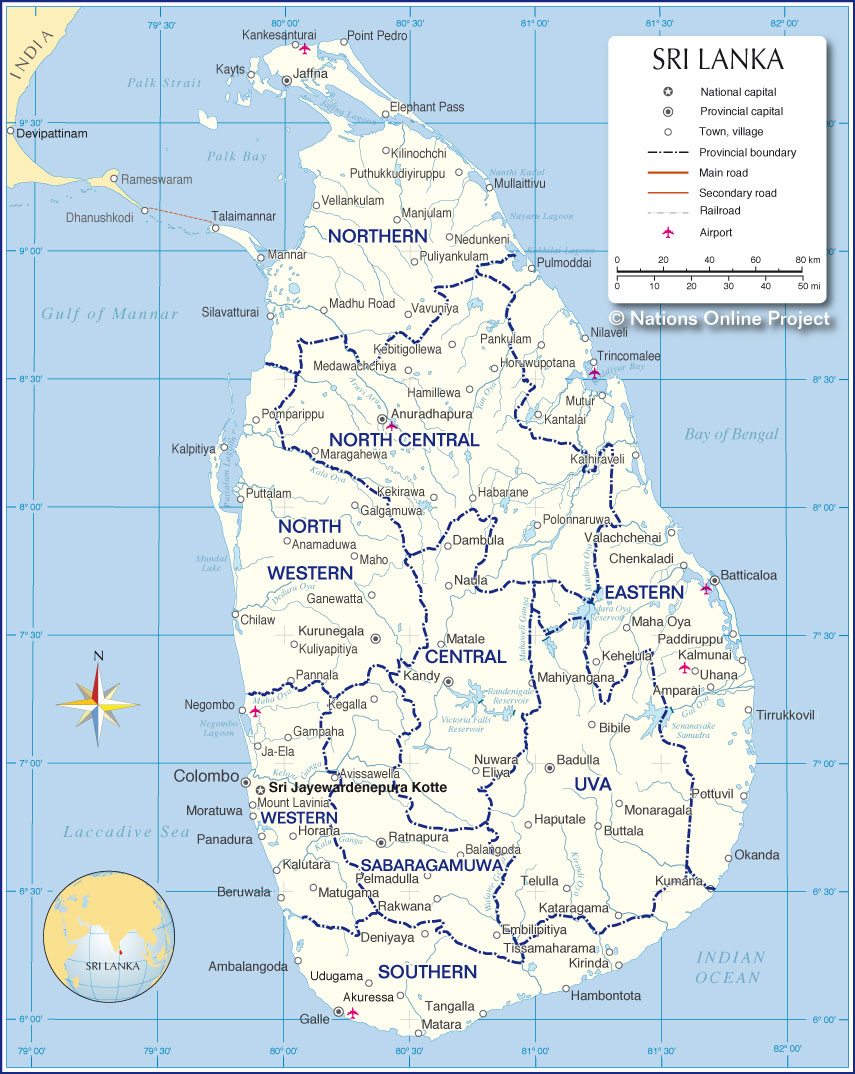 small map of sri lanka