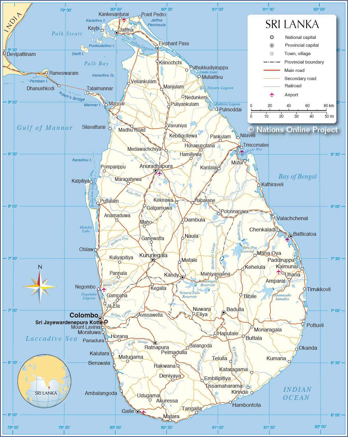 Sri Lanka Political Map.Political Map Of Sri Lanka Nations Online Project