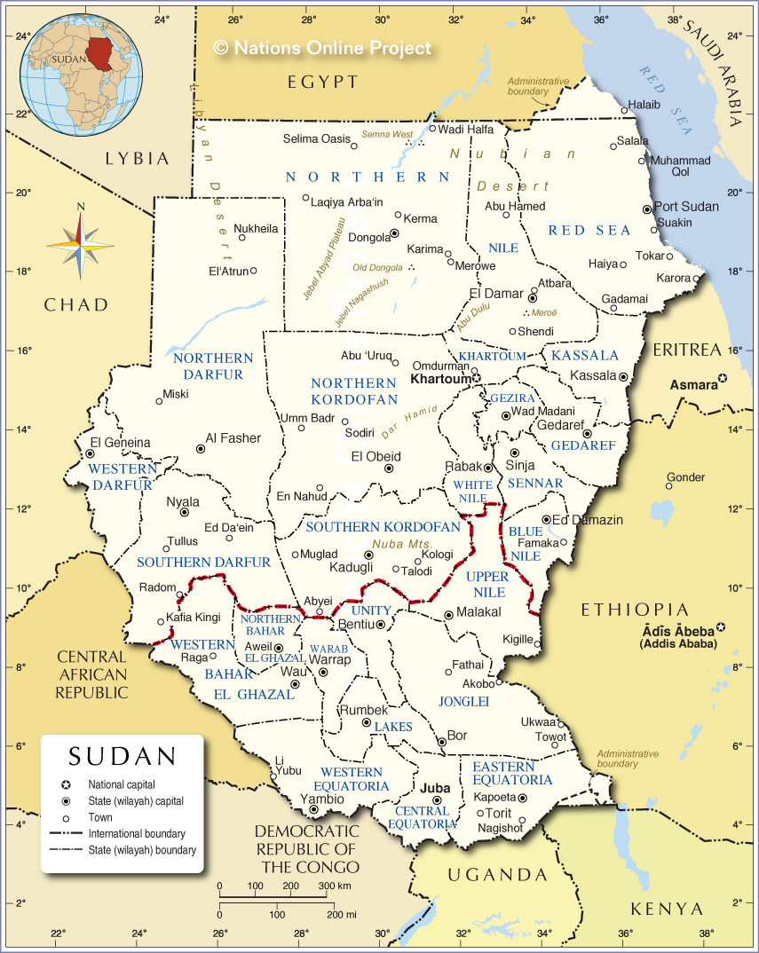 Administrative Map Of Sudan Nations Online Project - Sudan map