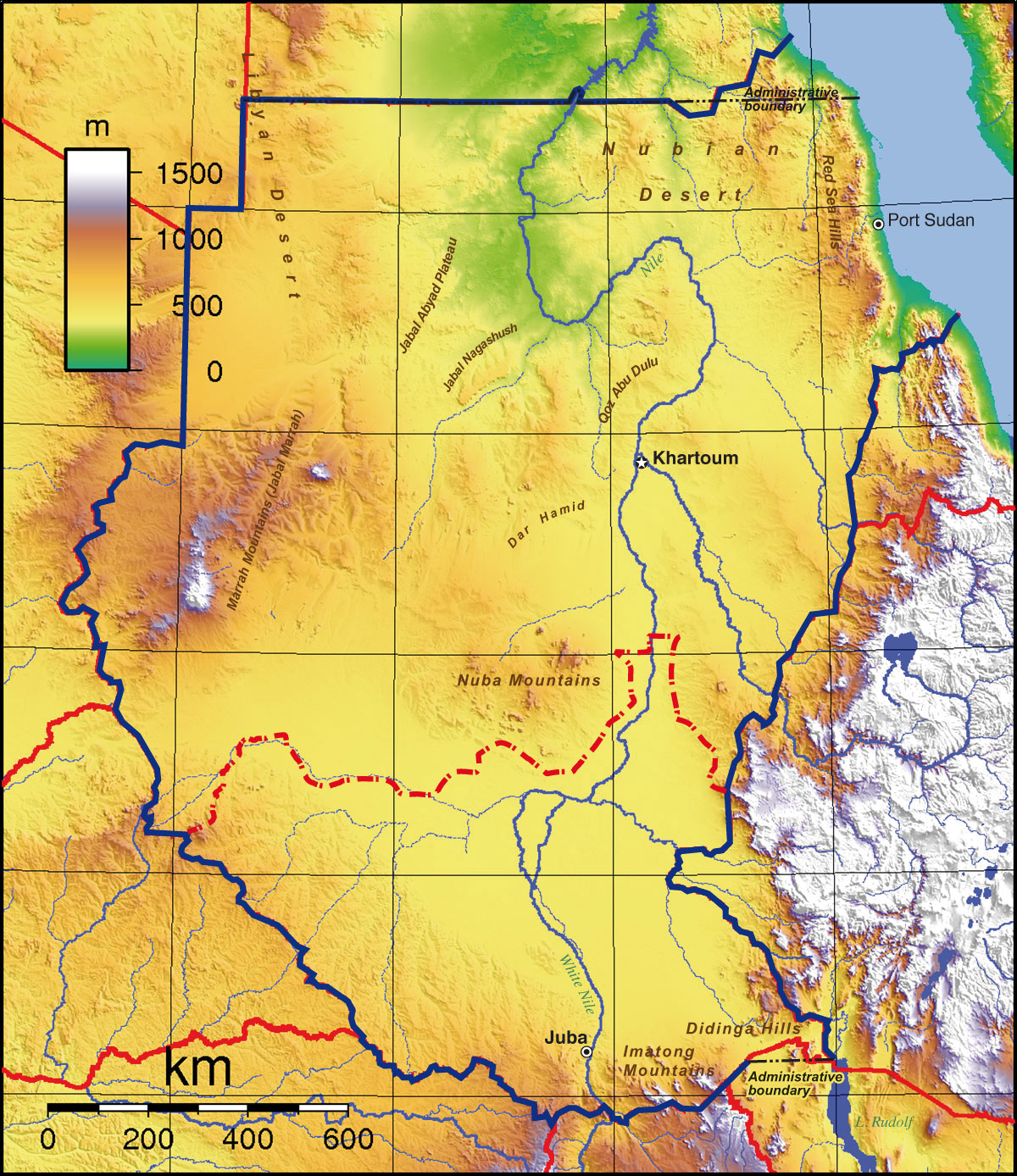 Topographic Map Of Sudan Nations Online Project - Map of egypt elevation