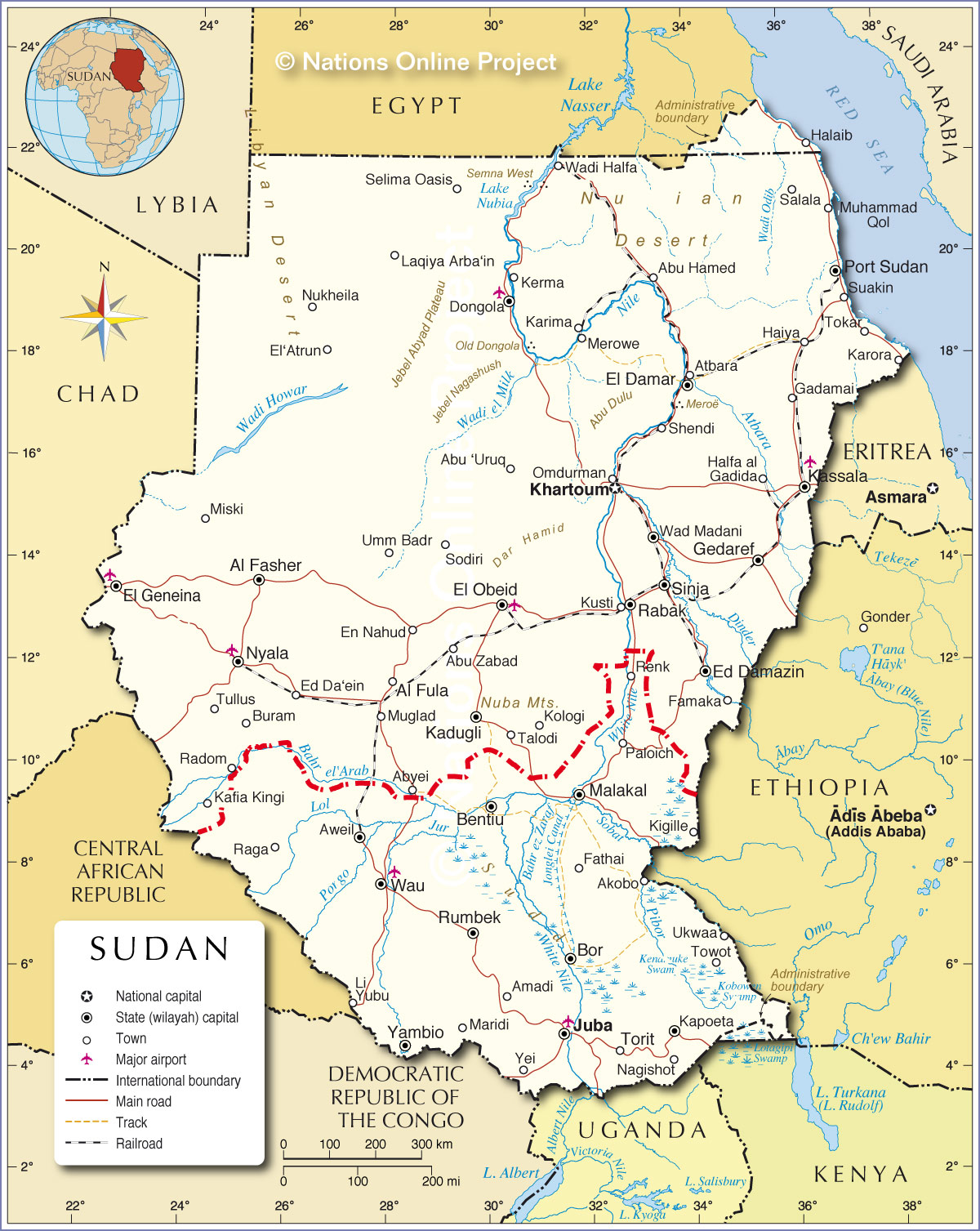 Political Map Of Sudan Nations Online Project - Sudan map