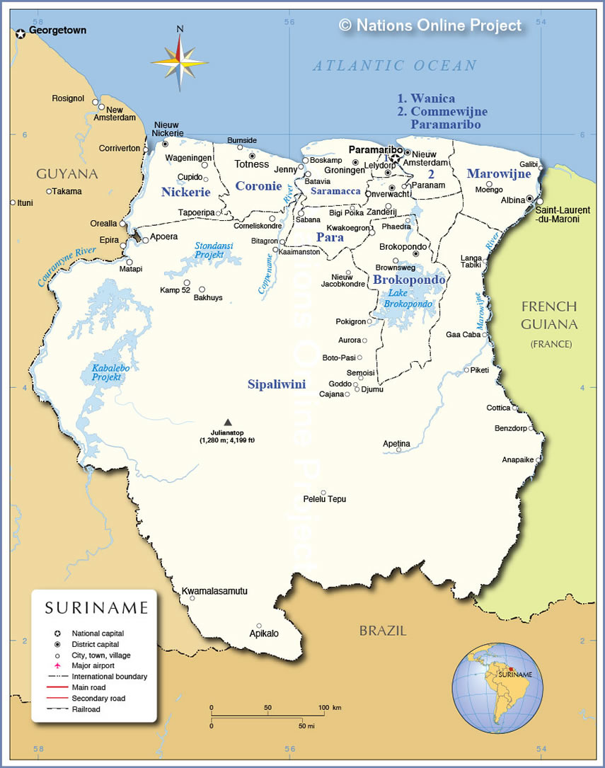 Administrative Map Of Suriname Nations Online Project - paramaribo map