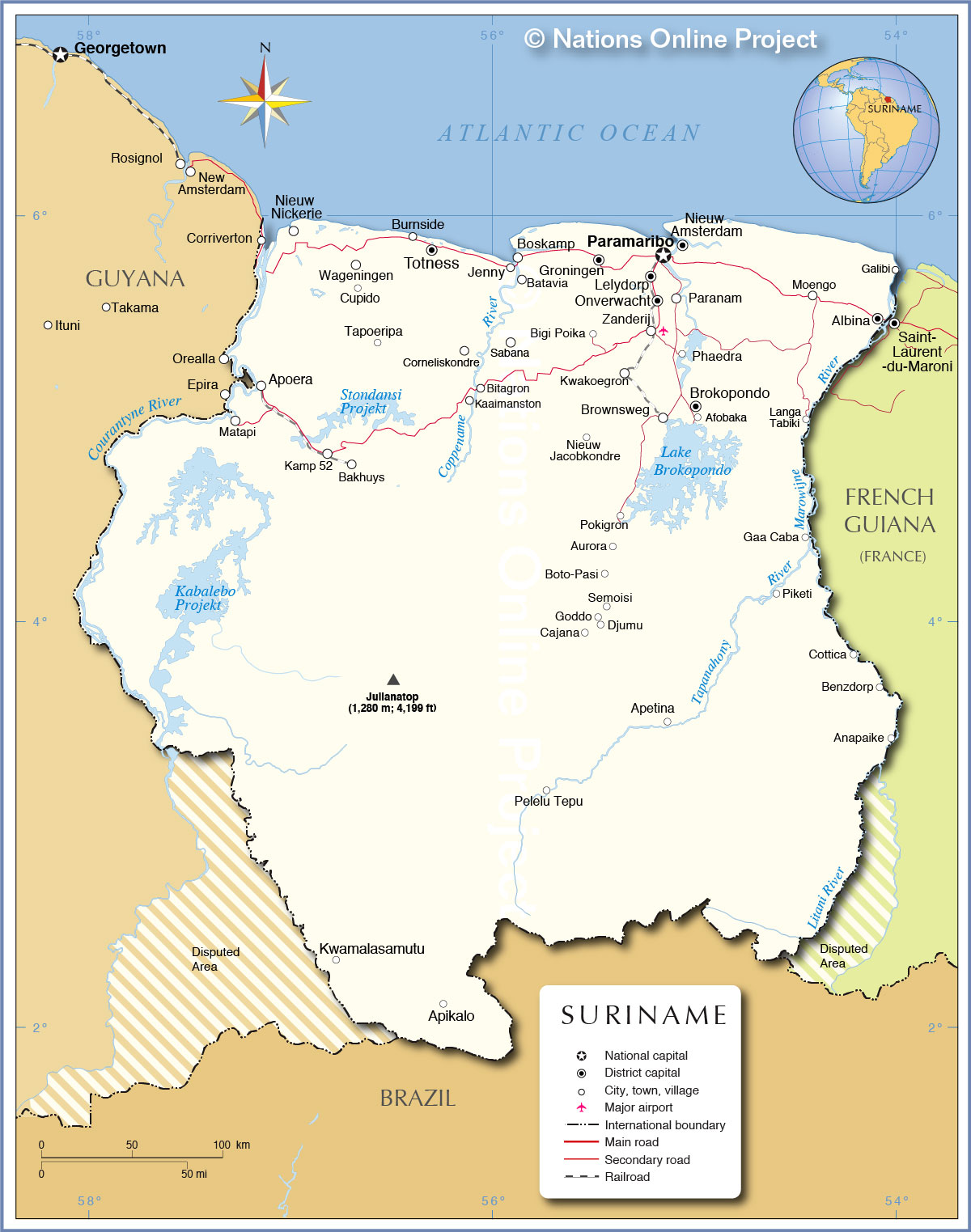 Political Map Of Suriname Nations Online Project - paramaribo map