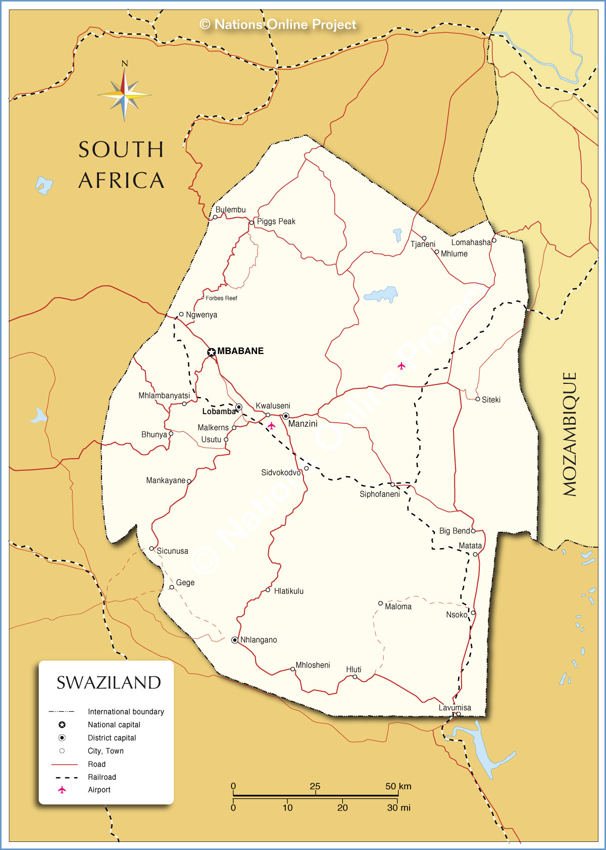 Map Of Swaziland Political Map of Swaziland   Nations Online Project