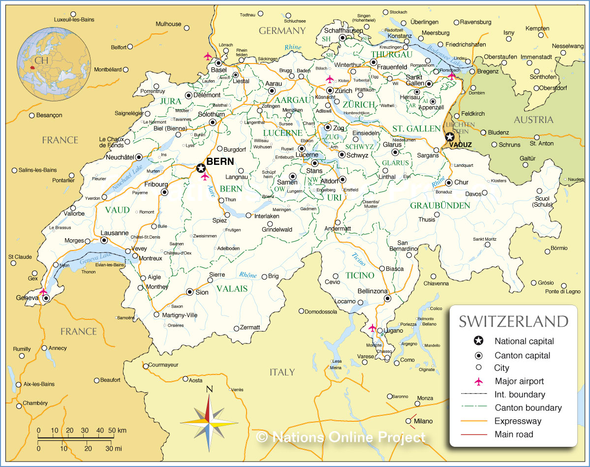 Administrative Map of Switzerland Nations Online Project