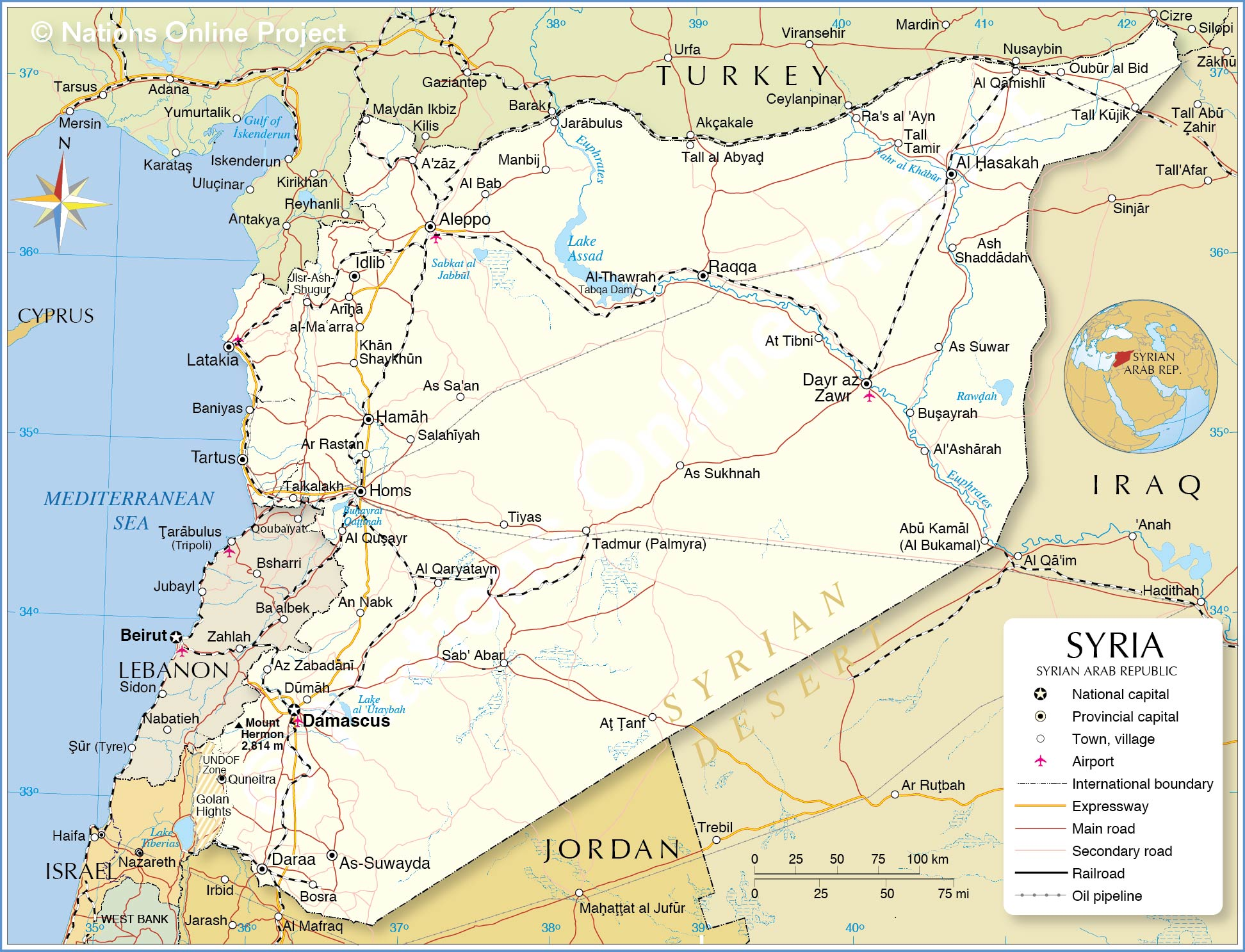 Political map of the syrian arab republic