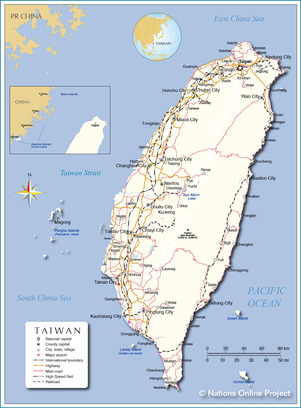 Taiwan China Map.Political Map Of Taiwan Nations Online Project