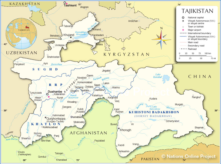 Map Of Tajikistan Administrative Map of Tajikistan   Nations Online Project