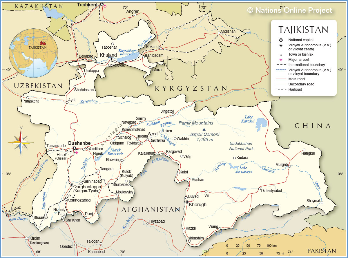 Map Of Tajikistan Political Map of Tajikistan   Nations Online Project