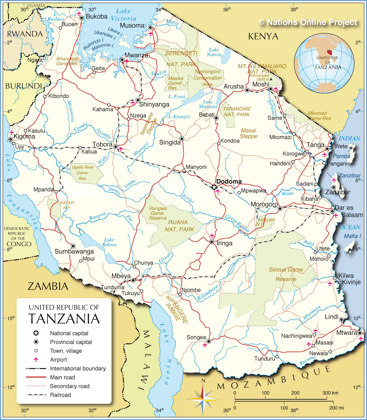 political map of tanzania ( px with)  nations online project - political map of tanzania