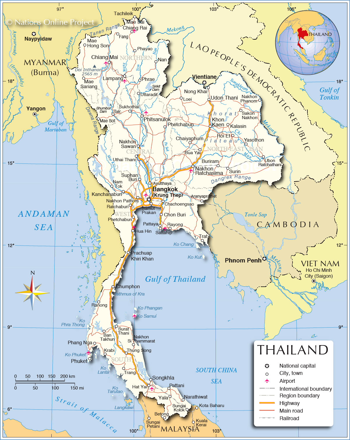 Regions Map of Thailand  Nations Online Project