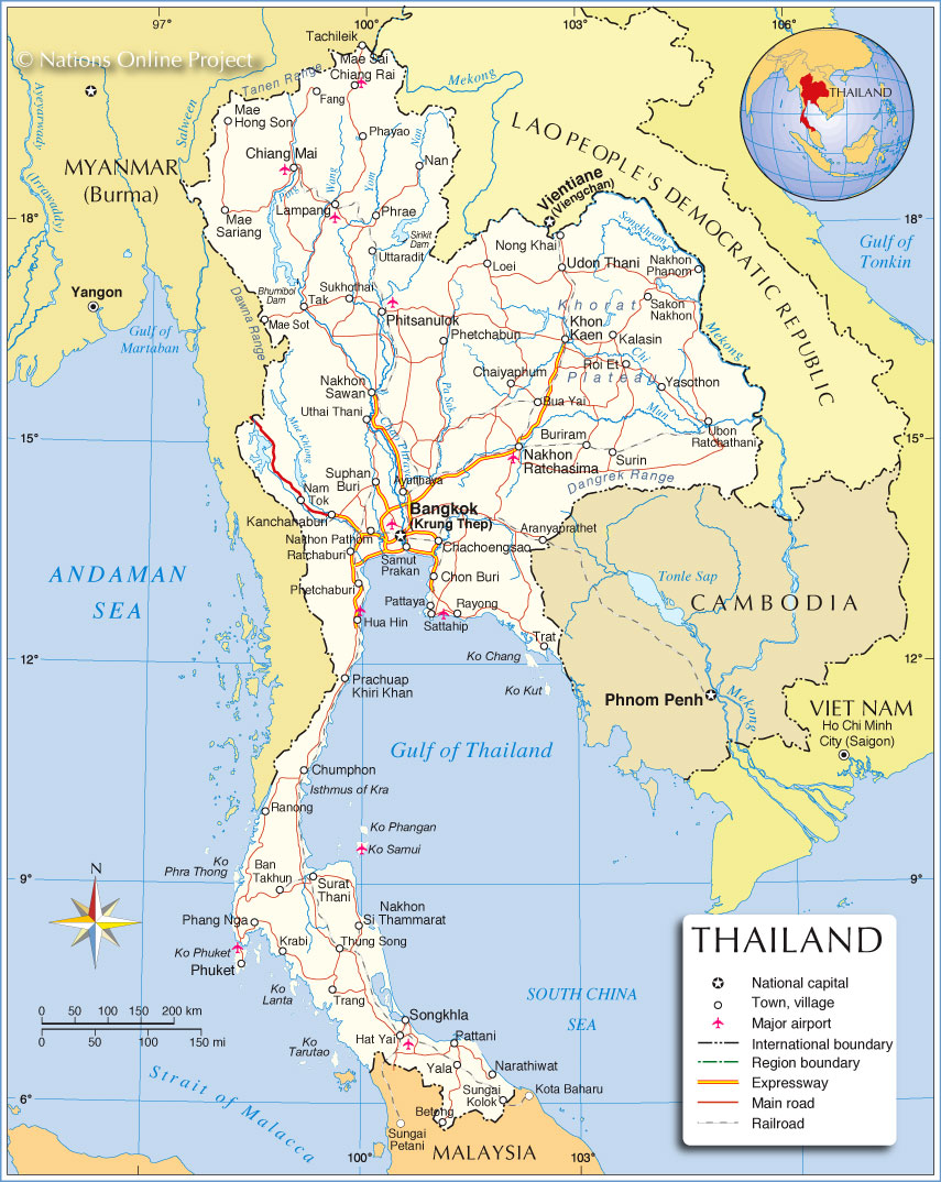 Political map of thailand nations online project political map of thailand gumiabroncs Gallery